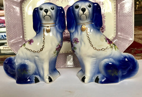Pair of Blue W/ Purple Pansies Chintz English Transferware Staffordshire Spaniel Dogs