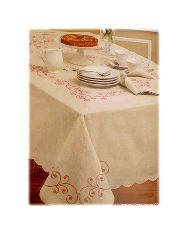 "Lenox French Perle Rectangular Table Cloth Red Embroidered Linen Blend 60"" x 102"""