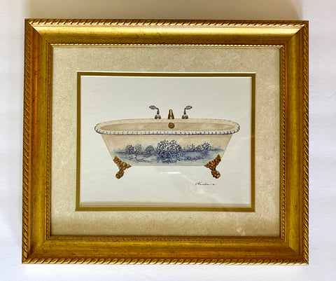 Blue & White French Toile Double Matted & Gold Framed Toile Claw Foot Bath Tub Print