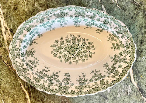 English Ivy Green Transferware Salad / Vegetable Bowl Crown Ducal Circa 1930s