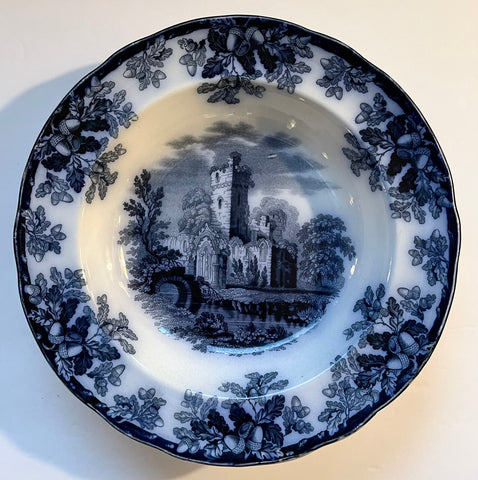 Circa 1850s Copeland Spode Ruins Oak leaves & Acorns Flow Blue Transferware Rim Soup Plate Staffordshire