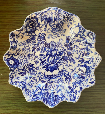 Vintage  Floral 18th Century Chintz Blue Transferware Pickle Dish