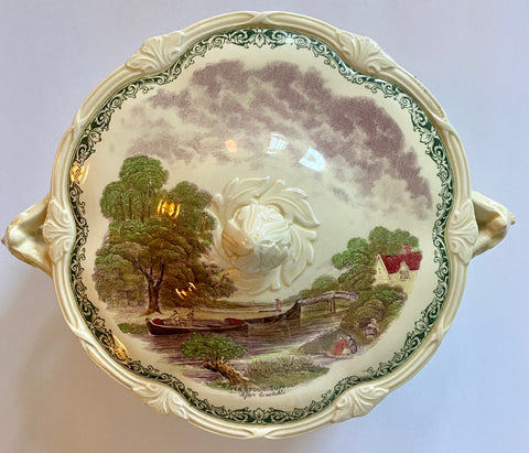 Scenes After Constable Tureen Green Purple BiColor English Transferware A Lock on The Stour