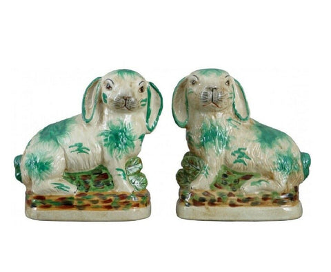 Pair Green & Off White Staffordshire Rabbit Figurines  - English Country Decor