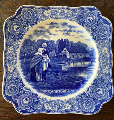 Circa 1932 Blue Historical Transferware Square Plate Washington & his Mother