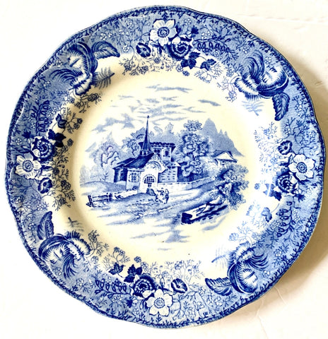 Antique Country Scenes Plate Staffordshire Wood & Sons Blue