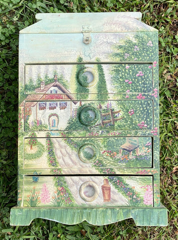 Hand Painted Green Wood Cabinet Jewelry Box w English Cottage Garden Flowers