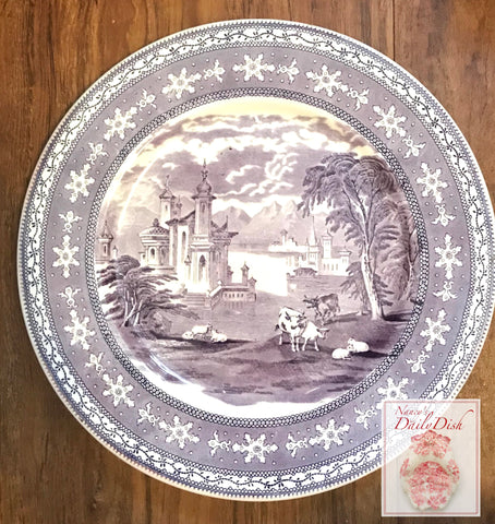 Purple Toile Cookie Tray Transferware Charger Platter Grazing Cattle Sheep Castle