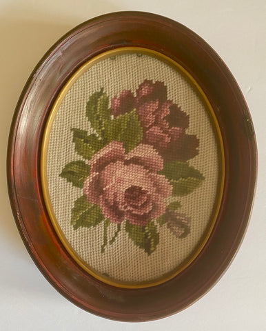 Antique Needlepoint Picture Pink Burgundy Roses in Deep Oval Walnut Frame