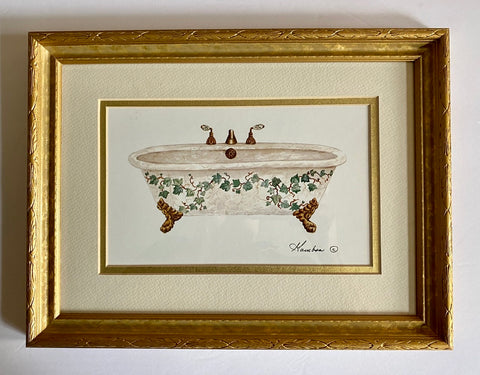 Victorian Claw Foot Bath Tub Framed Print Trailing Vines & Green Ivy