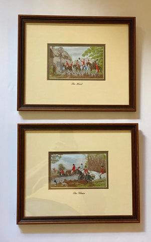 Vintage English Hunt Scene The Chase in Woven Silk - Dbl Matted & Framed