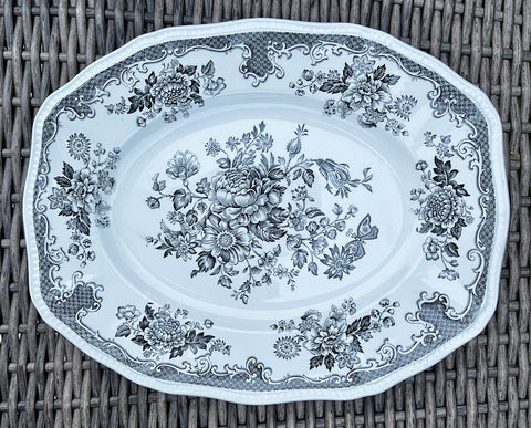 Black Toile Transferware Platter Roses Bird Butterfly England Blue and White China -