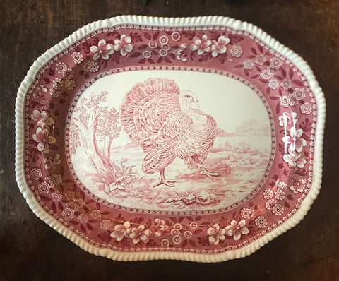 Antique Copeland Spode Pink Tower Red Transferware Turkey Platter 23""