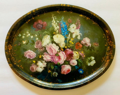 Vintage Tole Tray English Garden Flowers w/ Gold Scrolls