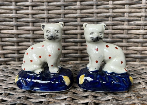 Antique Pair Mini Staffordshire Brown Dot Cats Figurines on Blue  Base
