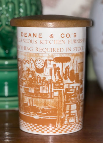 Vintage Advertising English Ironstone Lidded Kitchen Canister Utensil Holder Jar Brown Print