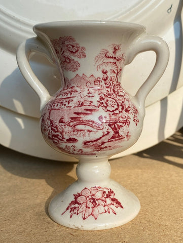 Red Transferware Dual Handled Vase or Urn Clarice Cliff  Tonquin Royal Staffordshire Sailboat