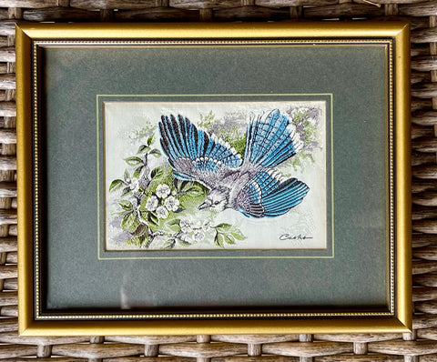 Vintage English Woven Silk Blue Jay on Flower Branch Matted in Gold Frame