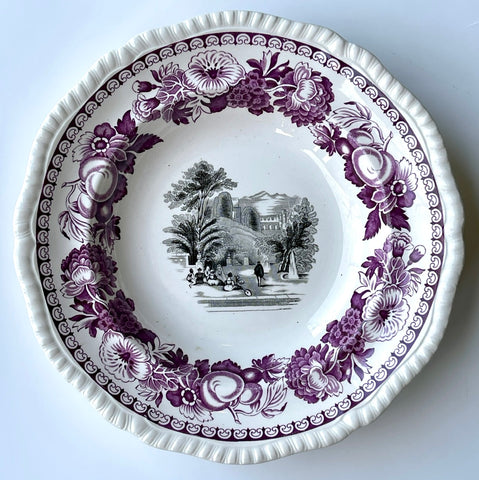 Purple & Black Bi-Color Transferware Spode Rim Bowl Musicians Landscape Fountains