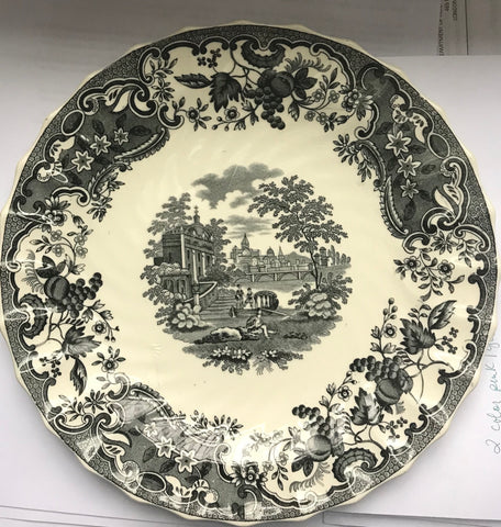Vintage Spode Copeland Black Transferware Plate Spode May Urn Fruits Flowers