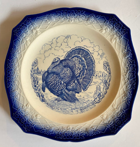 Antique Turkey Plate Blue Transferware Tom Turkey Square Plate