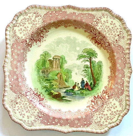 Pastoral Scene w/ lacey Border Red / Pink Transferware Square Plate Royal Doulton Chatham