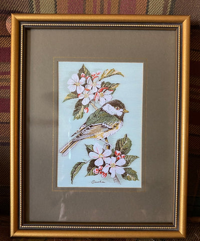 Vintage English Woven Silk Black Capped Chickadee & Apple Blossom Matted & Gold Frame