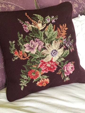 Ralph Lauren Brittany Floral Needlepoint Pillow Eggplant Purple Pink Green Brown