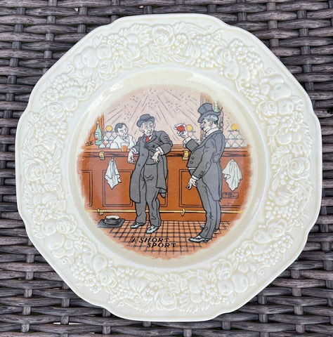 Antique English Pub Plate Transfer Ware Humorous Saloon A SHORT SPORT / Bar Decor no. 1 of 6