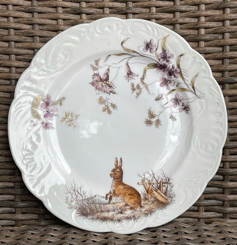 Antique Woodland Rabbit & Botanical Wild Flowers Porcelain Plate