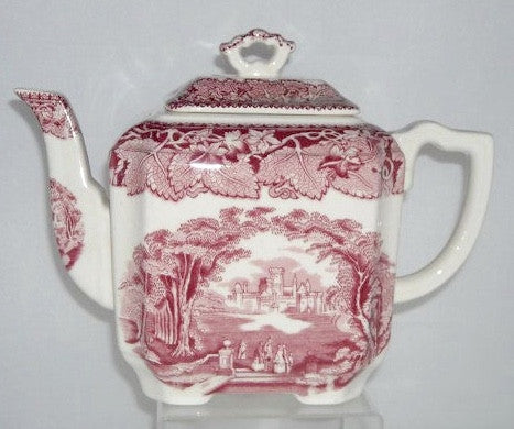 Vintage Red Transferware Masons Vista Square Teapot Tea Pot Oak Leaves Ivy Park Scene