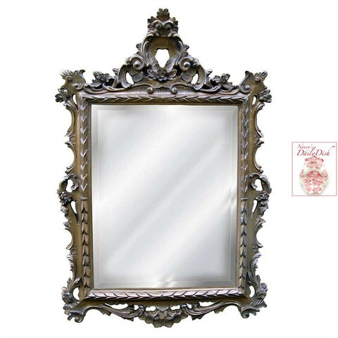 English Regency Hand Finished Entryway or Wall Mirror with Tarnished Gold Finish