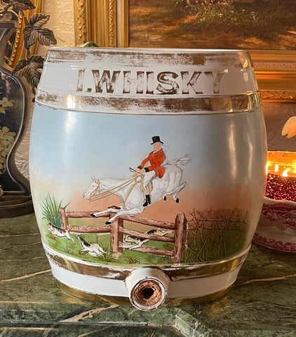 HUGE RARE 19C Antique English Equestrian Horse I. WHISKY Spirits Barrel  IDEAL FOR LAMP
