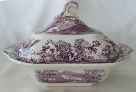 Clarice Cliff Purple Transferware Lidded Tureen Royal Staffordshire Tonquin  Swans &  Roses