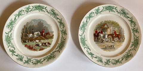 Pair of Antique Cauldon Companion Plates English Hunt Scene w/ Green Transferware