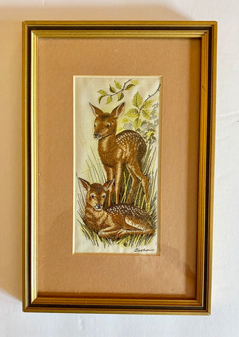 Vintage English Woven Silk Red Fawn Deer Matted & Gold Frame