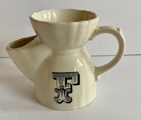 Black Monogram Initial F English Transferware Ironstone Shaving Mug