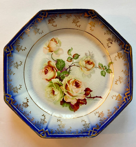 Flow Blue Octagon Plate w/ Painted Peach & Cream Roses * Gold / Gilt Accents
