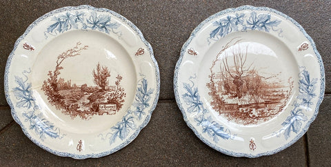 Pair of Choisy Le Roi 2 Color Blue & Brown Transferware Decorative Plates French