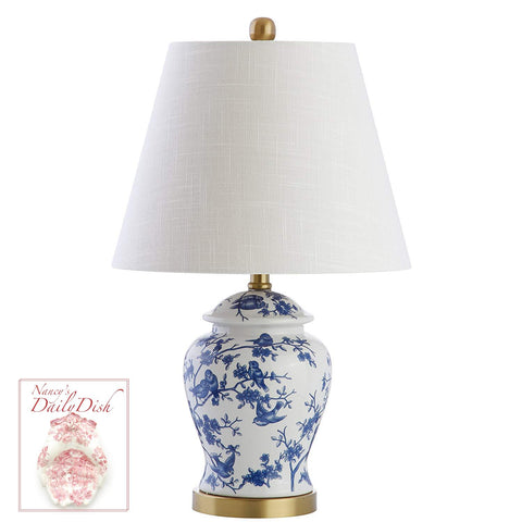 New PAIR Chinoiserie Blue & White Prunus & Sparrow Birds Ginger Jar Lamps w/ Shades