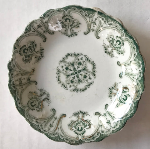Antique Green Transferware Butter Pat or Salt Dip Victorian Scrolls Meakin