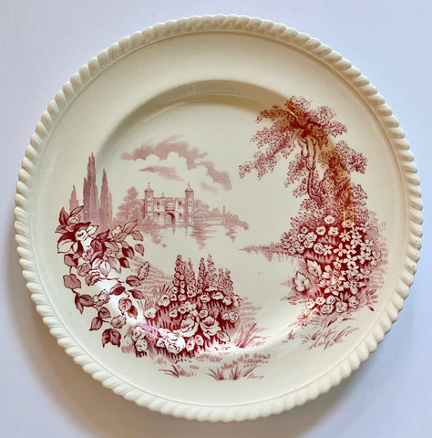 "Pink Red Toile TRANSFERWARE 10"" Plate Castle on Lake Foxgloves Roses"