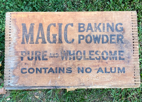 Antique Advertising Wood Crate Magic Baking Powder