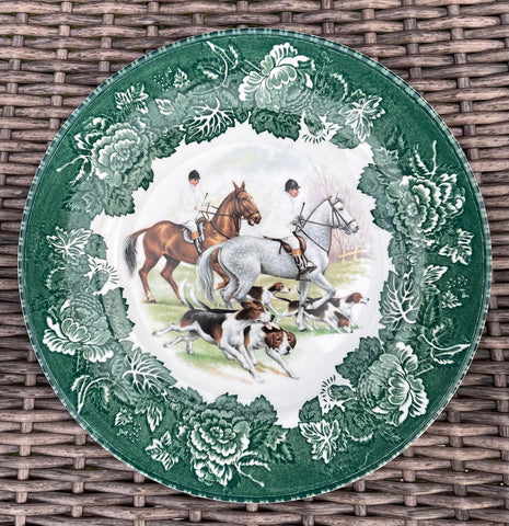 English Equestrian Fox Hunt Scene Plate Dogs Horses Vintage Green Transferware Hunting Decor Decorative Hunting Plate