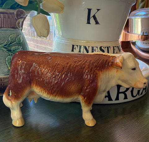 HTF Large English Vintage Melba Ware Butcher Shop Display Cow Hereford Figurine