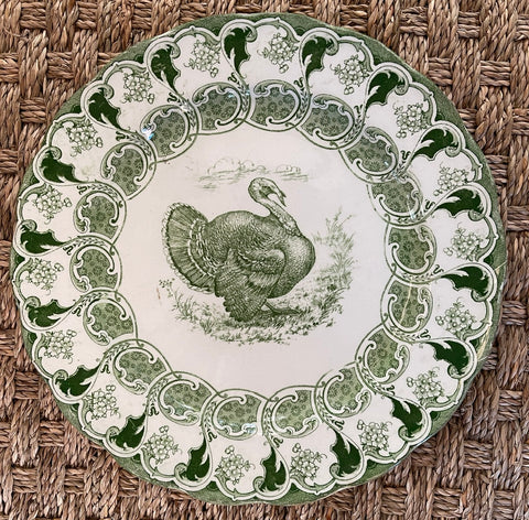 Antique Green & White Transferware Thanksgiving Turkey Plate Florence Bisto Powell Bishop Stonier