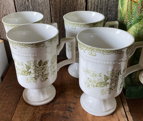 Rare Set of 4 Sage Green Transferware Tall Footed Mugs Cup Roses Bird Butterfly