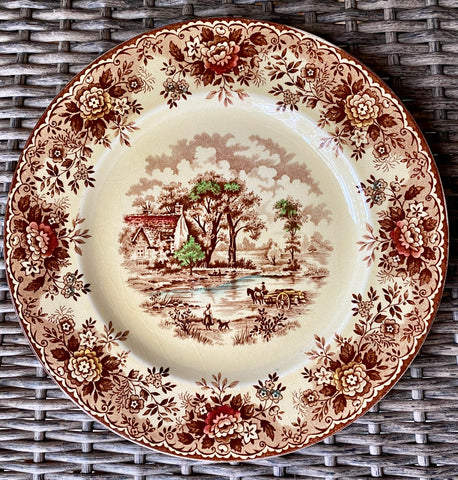 "Vintage Brown Transferware 10"" Plate Little Girl & Dog English Country Cottage"