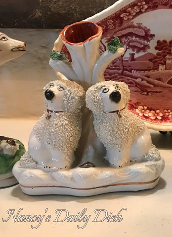 RARE Antique Staffordshire Confetti Poodle Dog Spill Vase w/ Inkwell