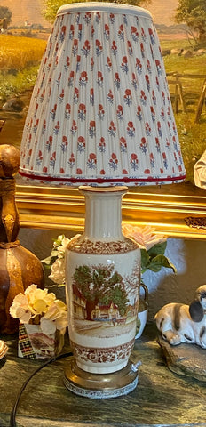Antique English Staffordshire Brown English Polychrome Transferware Lamp Hand Painted Penshurst Village